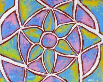 SALE Original Mandala Visionary Spiritual Art Painting: Impressionistic Expression