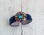 Blue Silk Velvet Cuff - Adjustable
