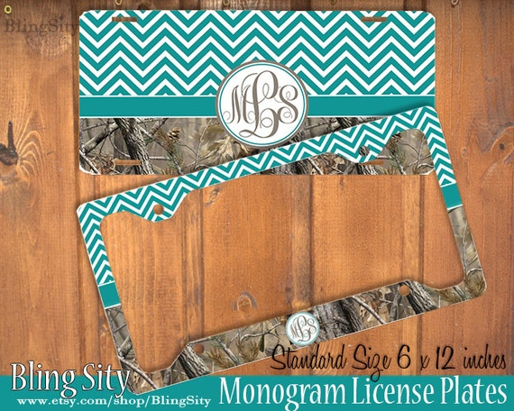 Turquoise Camo Chevrons License Plate Frame Holder