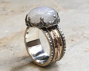 Moonstone ring, spinner ring women, wedding band, Silver gold ring, meditation ring, two tone band,  filigree ring - Into The Mist R2305-2