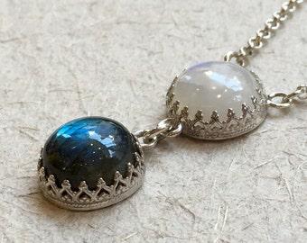 Labradorite pendant, moonstone necklace, Gemstones pendant, crown necklace, bohemian silver necklace, gemstone necklace - Angels N2031