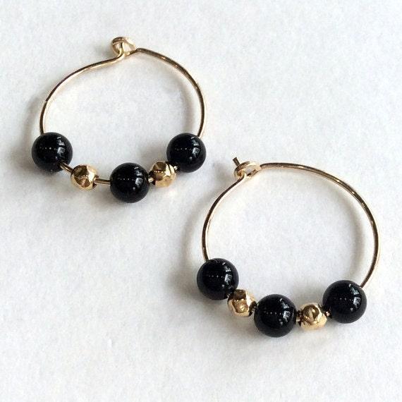 Black Stone Earrings: Gold Filled Earrings Black Stone Earrings Small Hoop