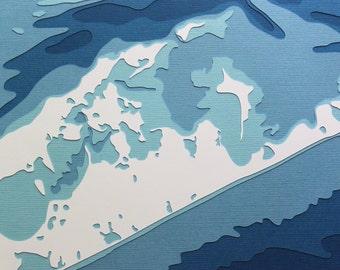 The Hamptons - original 8 x 10 papercut art in your choice of color