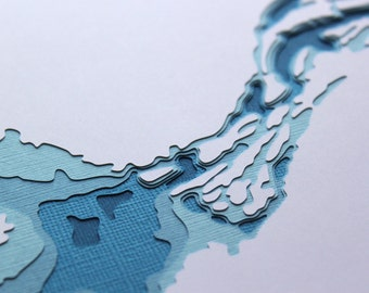 Great Slave Lake - original 8 x 10 papercut art in your choice of color