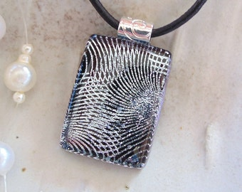 Silver Necklace, Black, Dichroic Glass Pendant, Fused Glass Jewelry, Necklace Included, A6