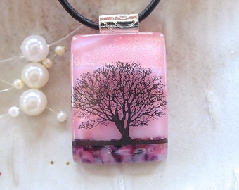 Peach Necklace, Pink, Fused Glass Jewelry, Dichroic Glass Pendant, Tree, Necklace Included, A7