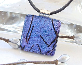 Purple Necklace, Fused Dichroic Glass Pendant, Fused Glass Jewelry, Purple, Necklace Included, A3