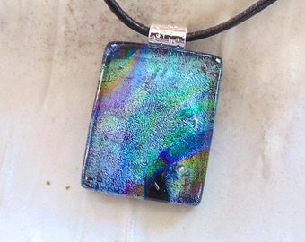 Blue Necklace, Teal, Dichroic Glass Pendant, Fused Glass Jewelry, Necklace Included