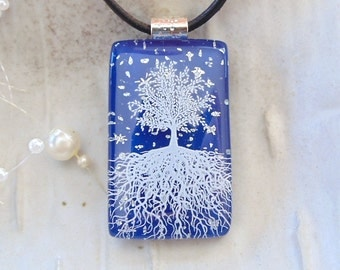 Blue Necklace, Dichroic Fused Glass Pendant, Tree of Life, Glass Jewelry, Necklace Included, A7