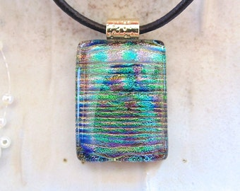 Green Necklace, Copper, Blue, Fused Dichroic Pendant, Fused Glass Jewelry, Necklace Included, A3