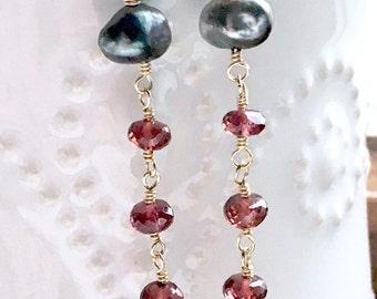 Red Garnet Mixed Metal Tahitian Keshi Pearl Dangle Earrings