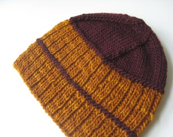 amber gold wool knit hat with maroon stripe