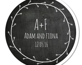 Personalized Stickers -- Chalkboard Wreath -- Personalized Canning Labels, Personalized Preserves Label -- Choice of Size