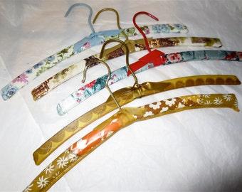 Vintage Covered Hangers - Wooden Clothes Hanger Set of 5 -