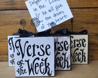 Verse Of The Week Card Holder - Grey Polka Dot Available - variety neutral print - scripture memory - homeschool - sunday school