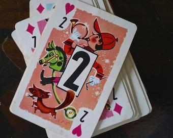 Vintage Game Cards - Vintage - whitman - paper ephemera - Crazy eights - children's games