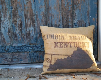 Kentucky Trader Burlap Pillow - state art - bluegrass - coffee bag burlap