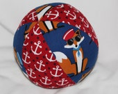 Navy Blue Foxes and Anchors Fabric Boutique Ball Rattle Toy
