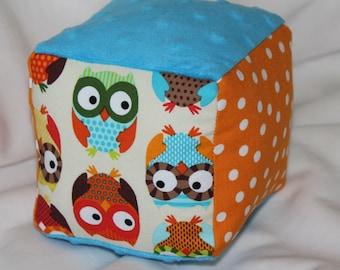 Cream Owls Fabric Block Rattle Toy