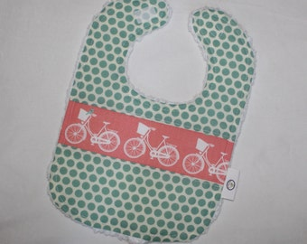 Coral Whimsical Wheels and Dots Chenille Bib