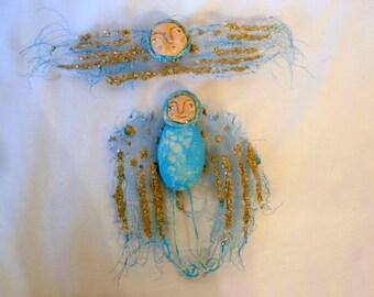 Cherub And Angel Ornies - Original Hand Carved - Free USA Shipping - set 8