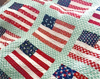 Stars and Stripes Lap Size Quilt Flag Throw Quilt Handmade Custom Order Moda Fabrics Patriotic Quilt Navy Blue Red White