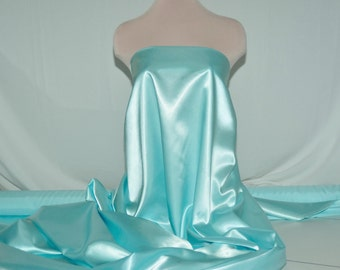 """Satin  Fabric 60"""" Sea Mist 100% polyester ... bridal, formal, pageant, suits , home decor..wedding...craft..pillowcases,"""