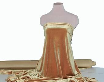 Stretch Spandex Velvet Antique Gold 4 ways stretch..formal wear, pageant, home decor, crafts, bridal
