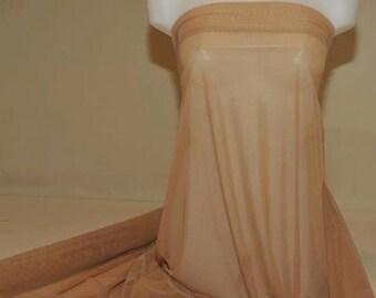 "Power mesh stretch fabric, semi sheer, 4 ways stretch.. Mocha Tan      . 58 "" wide.. dance, pageant, formal, costume, 1Yard"
