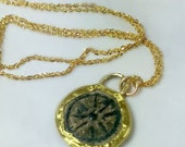 Widows Mite Pendant,  Roman coin and solid gold necklace, ancient coin jewelry, 22 kt recycled Gold Necklace