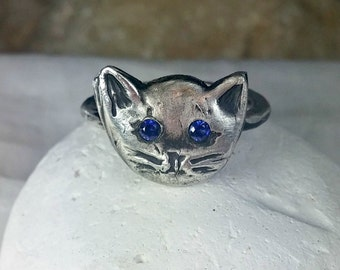 silver and sapphire Cat Ring,  rustic gemstone kitty ring, birthstone ring, crazy cat lady ring