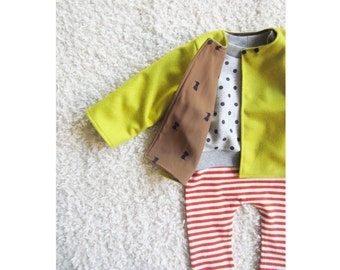 Tuppence baby coat, wool cashmere, chartreuse, cat print lining, woollen jacket - 12m, OOAK