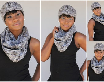 Grey Blend Hat and Infinity Scarf