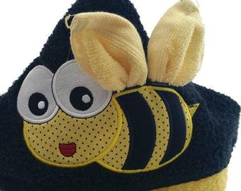Bee Towel Hoodie,Personalized Kids Hooded Bath Towel, Birthday Gift Hooded Towel from Grandparents, Toddler Hooded Beach Towel, Baby Gift