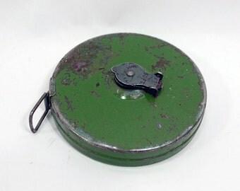 "Vintage steel metal Tape Measure 50 ft fabric tape Lufkin Green painted Metal Case Easy Rewind measuring tape Made in USA 3 1/4"" diameter"