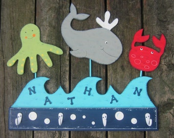 OCEAN SEA CREATURES Kids Bathroom Towel Rack - Original Hand Painted - Personalized Wave