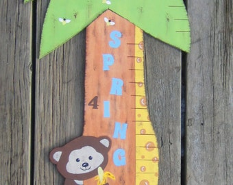 Wood Growth Chart Pediatrician Office - Original Hand Painted Wood - JUNGLE