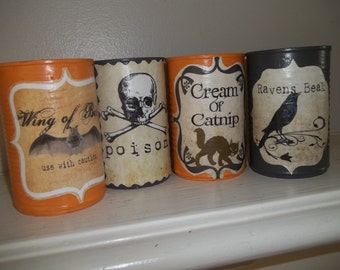 Halloween Decor Painted Tin Cans Set of 4 Retro Halloween Decoupage