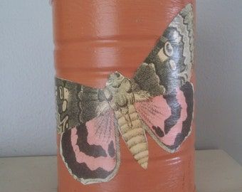Upcycled Canister Tin Chalk Paint Decoupage Storage Tin