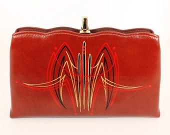 Vintage Pinstriped Purse - Black, Metallic Gold & Red Pinstriping on Red Clutch Purse