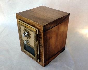 Maple Safe with Vintage Brass Bronze US Post Office Door Bank Combination Mail Lockbox Brass Groomsman 8th Anniversary Retirement Lock Box