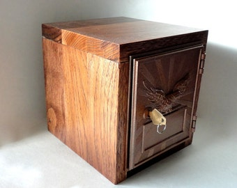 Knotty Hardwood Safe Vintage Copper Eagle Post Office Door Bank Mailbox Key Lock Box Groomsman Aluminum 10th 7th Anniversary Lockbox Man