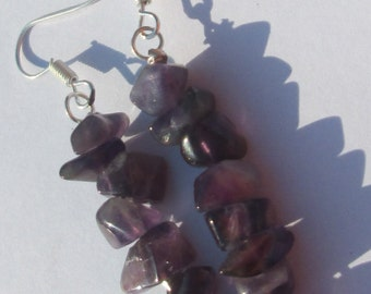 amethyst chips hand made wire wrapped pierced dangle earrings