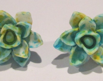 Pierced Post Earrings Lotus Flower small blue green white splatter design lotus flower pierced post hand made earrings by Ziporgiabella