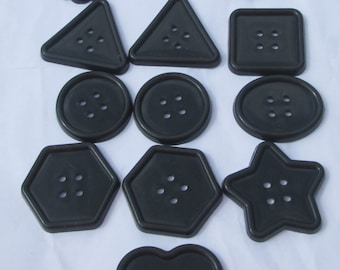 13 jumbo black assorted shapes plastic buttons new destash supplies for crafting and sewing