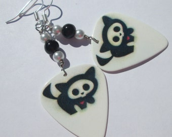 Affordable Unique hand made skeletal black cat on white guitar pick pierced dangle wire wrapped earrings by Ziporgiabella