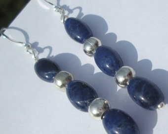 lapis lazuli Pierced Earrings blue oval stones with silver detail beads handmade wire wrapped pierced dangle earrings unique affordable