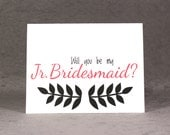 Will You Be My Junior Bridesmaid Card, Select Color and Pattern, Asking Jr. Bridesmaid, Flat Rate Shipping