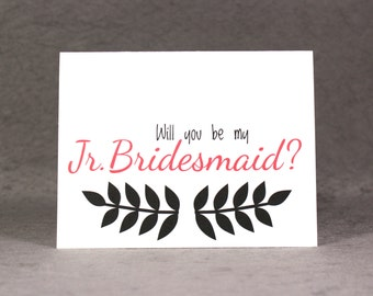 Ask Jr Bridesmaid Card/ Will You Be My Junior Bridesmaid Card/ Personalize Color/ Wedding Card/ Ask Bridal Party