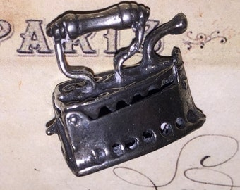 Vintage Silver Metal Sad Iron Miniature